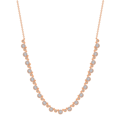 small round diamond necklace rose gold