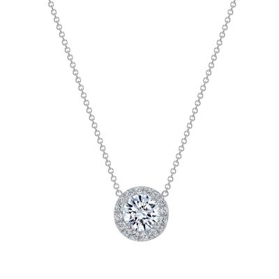 white gold round pendant necklace