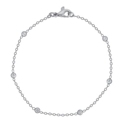 14k rose gold diamond station ankle bracelet