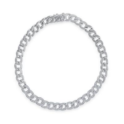 Diamong chain link bracelet white gold