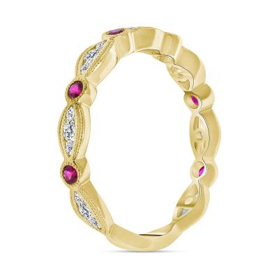 diamond ruby wedding ring