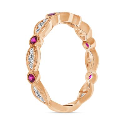 diamond ruby wedding ring rose gold