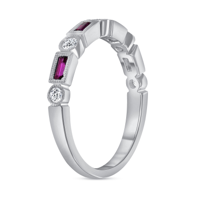 rectangle ruby ring white gold