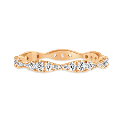 sound wave ring wedding diamond rose gold