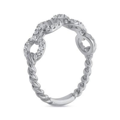 diamond chain link ring white gold
