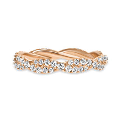 wavy diamond wedding ring rose gold