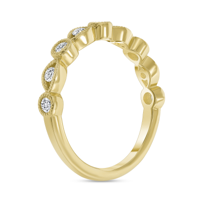 Half round wedding band gold   Diamond Collection Inc