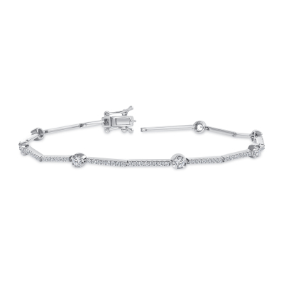 diamond station bracelet white gold