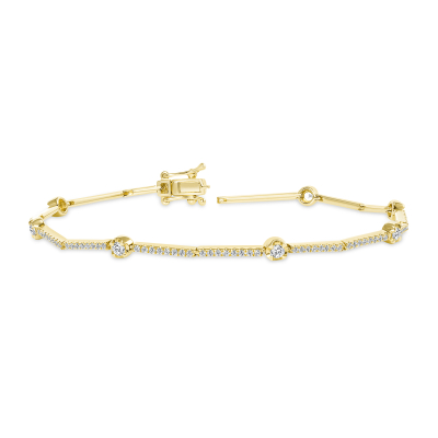 diamond station bracelet gold