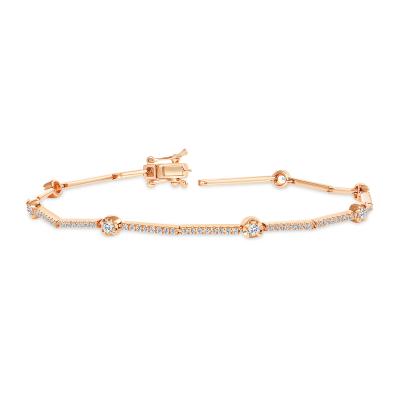diamond station bracelet rose gold