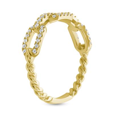 diamond link rope wedding ring