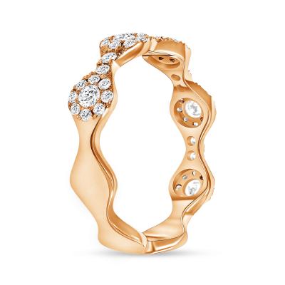 Round diamond wavy wedding ring rose gold