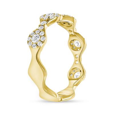 Round diamond wavy wedding ring gold