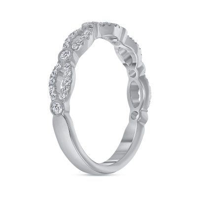 diamond twist wedding ring white gold