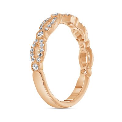 diamond twist wedding ring rose gold