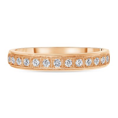 milgrain diamond wedding ring rose gold