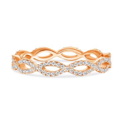 rose gold swirl diamond wedding ring