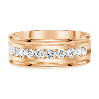 Channel diamond band rose gold | Diamond Collection Inc