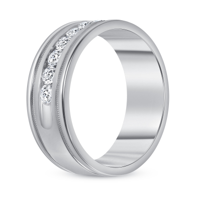 Channel diamond band white gold | Diamond Collection Inc