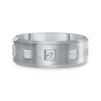 6 stone diamond band white gold