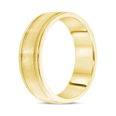 mens double milgrain wedding band | mens yellow gold milgrain wedding band