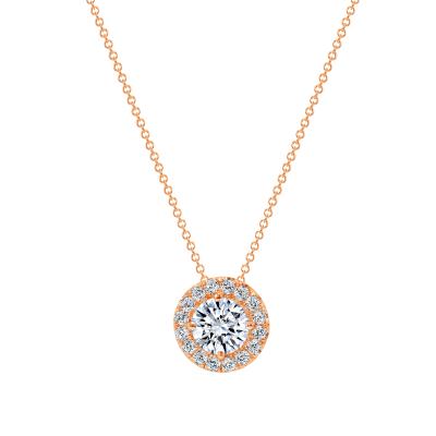 14k rose gold diamond pendant necklace