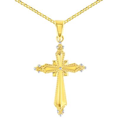 Milgrain Cross Charm Pendant Cuban Chain Necklace