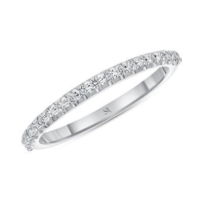 14k white gold round diamond dainty band