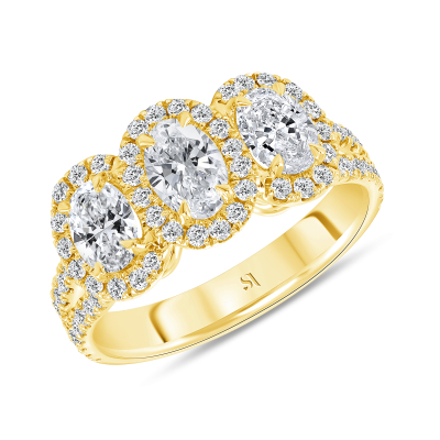 3 stone halo engagement ring yellow gold