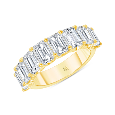 emerald cut diamond half eternity band yellow gold