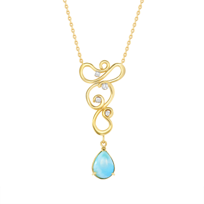 Larimar, Diamonds and Yellow Gold Dancer Necklace