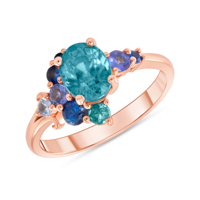Natural Blue Zircon and Sapphire Cluster Ring