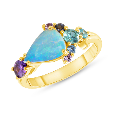 Opal, Sapphire, Blue Zircon and Yellow Gold Cluster Ring
