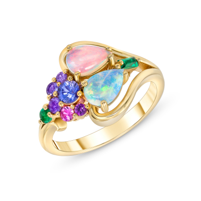Opal, Multi-Colored Sapphires and Emerald Cluster Ring
