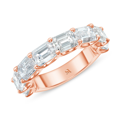 Emerald cut diamond East west set on 18k rose gold Halfway Eternity Band