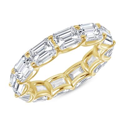 yellow gold horizontal emerald cut eternity band
