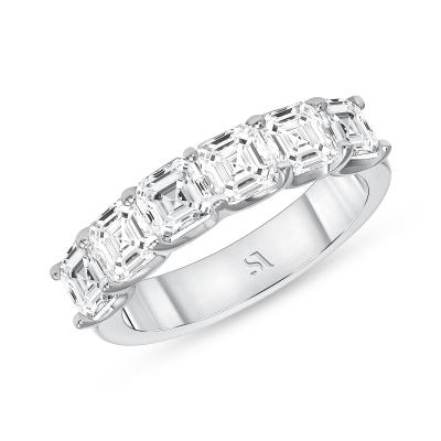 asscher diamond eternity band white gold