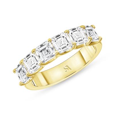 asscher diamond eternity band yellow gold