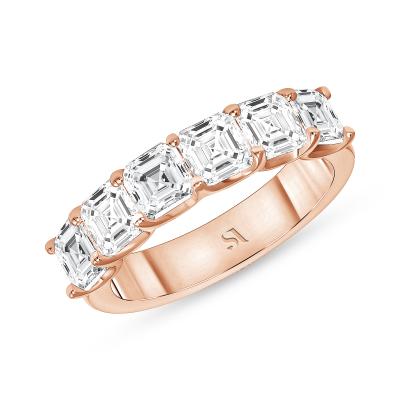 asscher diamond eternity band rose gold