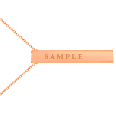"""14k Rose Gold Engravable Personalized Four Sided Vertical Bar Necklace with Spring Ring Clasp, 18"""""""