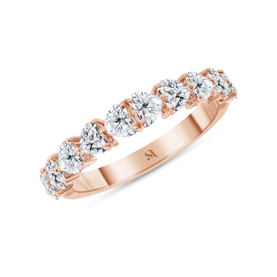 Half heart shaped diamond ring rose gold