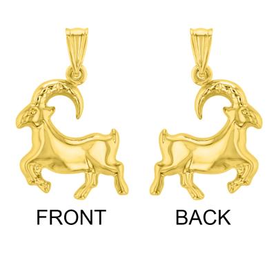 14k Yellow Gold 3D Capricorn Zodiac Sign Front & Back