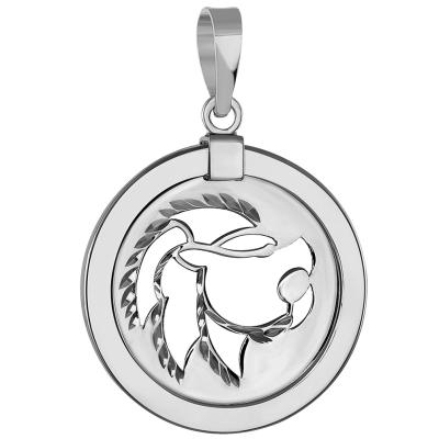 Leo Zodiac Sign Lion Animal Medallion Pendant
