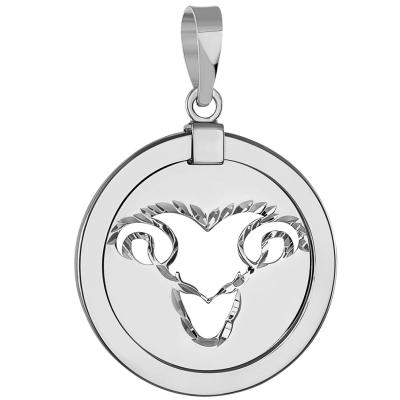 14k White Gold Round Aries Ram Zodiac Sign Animal Pendant