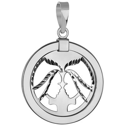 Gemini Twins Zodiac Sign Medallion Pendant