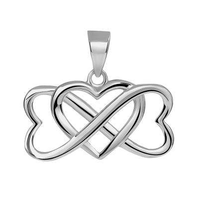 14k White Gold Interlocking Triple Heart Infinity Love Symbol Pendant