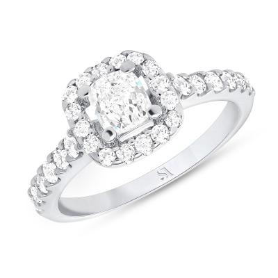 1 carat halo engagement ring white gold