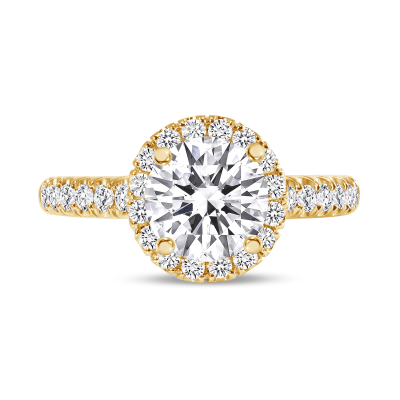 halo engagement ring with prongs