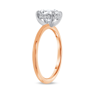 round hidden halo engagement ring rose gold