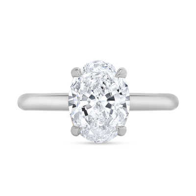 hidden halo oval engagement ring white gold